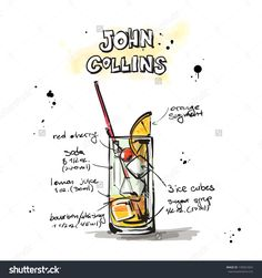 Hand Drawn Illustration Of Cocktail. Vector Collection. - 139041824 : Shutterstock