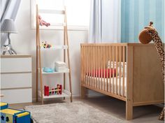 Mocka Aspiring Cot - Natural with Bendy Giraffe, Maya Ladder, Jolt Drawers, Pet Lamp and Ride On Truck