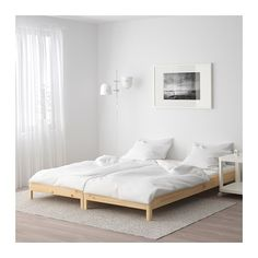 For second guest room (current office). UTÅKER Stackable bed with 2 mattresses - pine/Husvika - IKEA