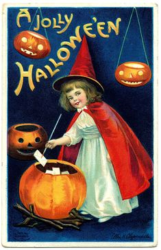 Vintage Halloween Clip Art - Sweet Little Witch Girl - The Graphics Fairy