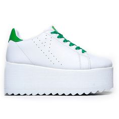 eda67ca66c2f Y.R.U. Lala Platform Sneakers in White Green Hipster Shoes