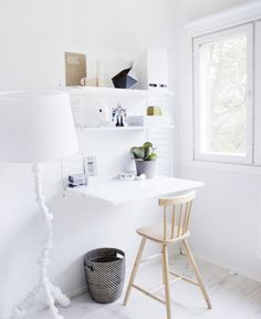 Cheap Home Decor Small Home Office Inspiration - Little Piece Of Me.Cheap Home Decor Small Home Office Inspiration - Little Piece Of Me Fold Away Desk, Space Saving Desk, Desk Space, Desk Nook, Study Space, Space Saver, Small Workspace, Small Desks, Workspace Desk
