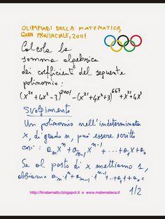 Esercizio svolto sui polinomi(Olimpiadi della Matematica, Gara provinciale, 2001)