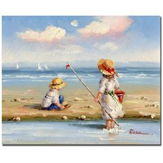 At the Beach III by Rosa Painting Print on Wrapped Canvas