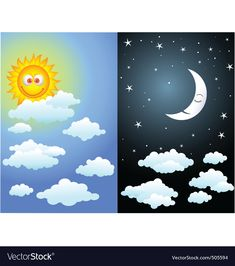 Illustration of Bright day and night Learning English For Kids, English Worksheets For Kids, Learning Games For Kids, English Lessons For Kids, Preschool Activity Books, Free Preschool, Montessori Activities, Opposites For Kids, Teaching Weather