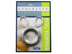 RSVP Endurance Stainless Steel Egg Topper by RSVP. $5.99. Removes the tapered end of a soft-boiled egg. Polished stainless steel. Engineered for ease of use. Description: This fabulous egg topper will remove the tapered top of a soft boiled egg, shell and all. Squeeze the handle and a ring of teeth will pierce, crack and separate the top of the egg as you gently twist and lift up to remove. Color: Stainless  Content: 18/10 Stainless Steel  Items Included & Size and M...