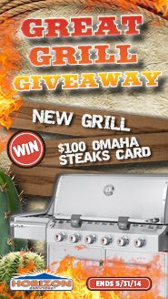 Fire up the grill! Enter today for a chance to win a brand new grill and a $100 gift certificate to Omaha Steaks! No purchase necessary.