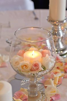 Soft elegance inspiration - candles and rose petals - white and blush wedding in. Soft elegance inspiration - candles and rose petals - white and blush wedding inspiration Wedding Table Centerpieces, Floral Centerpieces, Floral Arrangements, Wedding Decorations, Table Wedding, Diy Wedding, Wedding Flowers, Wedding Day, Wedding White