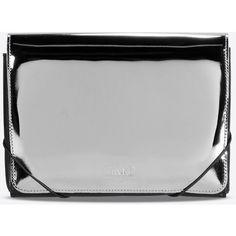 Mm6 By Maison Margiela Clutch ($235) ❤ liked on Polyvore featuring bags, handbags, clutches, silver, silver clutches, silver handbag, silver purse and mm6 maison margiela
