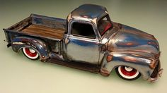 50 Chevy Pickup truck weathered.  Nice use of steel looking weathering.