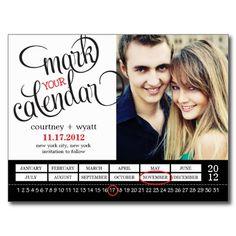 Chic Calendar Photo Save The Date Postcard