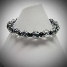 Black Stretch Bracelet with Cracked Glass Beads by LadyBirdJewelry, $16.00