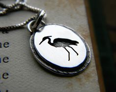Tiny sterling silver Heron pendant bird by justplainsimple on Etsy, $58.00