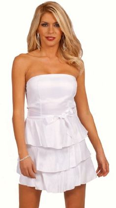 Strapless Sweetheart Empire Waist Tiered Layer A Line Skirt Cocktail Party Dress