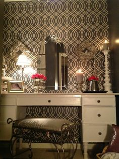 DIY:: Closet Makeover Into Glam Dressing Room  ! Great stenciled Feature Wall Tutorial