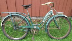 1948 Original Schwinn Girls Hornet Bicycle Bike Tank Green White Balloon Tires | eBay