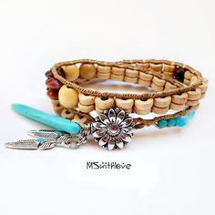 Wood Wrap Bracelet Turquoise Tusk Bracelet Bohemian by MSwithlove