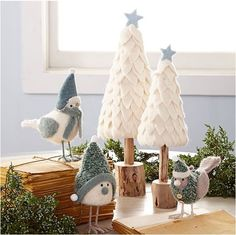 Centsational Girl ~ DIY to Try ~ Holiday Edition.  Snow white felt evergreens.