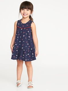 Old Navy Americana Tiered Swing Dress for Toddler Girls Newborn Girl Dresses, Toddler Girl Dresses, Baby Dress, Girls Dresses, Toddler Girl Style, Toddler Girls, Old Navy Kids, Girls White Dress, Modern Outfits
