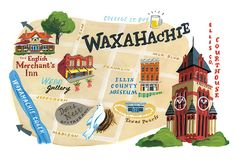 Wake up to Waxahachie - Texas Highways (Illustration by Jessica Allen)
