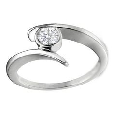 Bezel Swirl Solitaire Engagement Ring