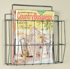 Farmhouse Storage Ideas, wire magazine rack | DuctTapeAndDenim.com