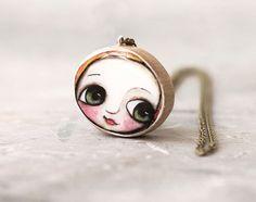 wood necklace little child big eyes