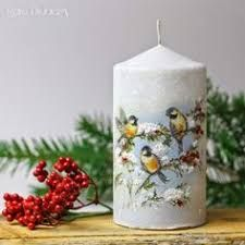 Decoupage candle: photos) master classes with ideas of holiday décor - Part 5 Handmade Candles, Diy Candles, Pillar Candles, Beeswax Candles, Christmas Decoupage, Christmas Crafts, Christmas Decorations, Nordic Christmas, Modern Christmas