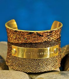 2 inch Concave Metallic Gold Genuine Stingray – You are my sunshine   Check out Rustic Cuff