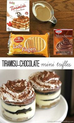 Tiramisu-Chocolate mini trifles are perfect for an Italian themed dinner party or any time you want a delicious treat.