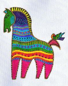 Laurel Burch PETITE PONY Horse #2 handpaintd Needlepoint Canvas