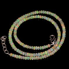 """37CRTS 3.8to4MM 18"""" ETHIOPIAN OPAL FACETED RONDELLE BEADS NECKLACE OBI2122 #OPALBEADSINDIA"""