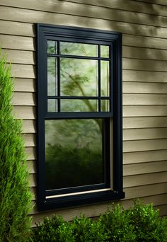 There are so many options of exterior window designs different types that can improve your home's value. View the designs of stylish exterior windows and make them a reference or guide of how to learn types, designs, sizes, and details for exterior w Black Vinyl Windows, Black Window Trims, Wooden Windows, Windows And Doors, Pvc Window Trim, Metal Windows, Upvc Windows, Exterior Trim, Modern Exterior