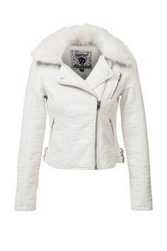 Wat vinden jullie van deze witte imitatieleren jas? Hij is nu voor 64% afgeprijsd! #mode #biker #jacket #jas #wit #white #fashion #dames #vrouwen #women #uitverkoop #sale