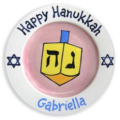 My Dreidel Girls Hand-Painted Ceramic Plate | Jack and Jill Boutique
