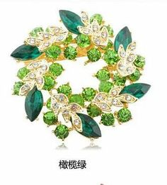 Beautiful Garland Shape Inlaid Gem Gold Plate Brooches for Brides