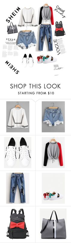 """""""contrast stripe blouse-shein contest"""" by azradesing ❤ liked on Polyvore featuring WithChic"""