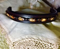 17 inch dark brown padded leather beaded browband. FREE fast shipping in the USA!