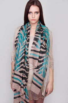 Teal & Black Printed Scarf by Goose Island for only £14.99 100% Cotton #scarves #scarf #fashion