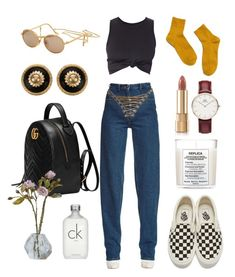 """black and gold"" by rdunph ❤ liked on Polyvore featuring Y/Project, Vans, Moschino, Madewell, Maison Margiela, Gucci, Dolce&Gabbana, Daniel Wellington, Calvin Klein and Chanel"