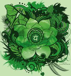 Anahata   4° chakra ou chakra du cœur. La couleur de ce chakra est le vert. Il est situé sous le sternum, au-dessus du cœur. Il est en rapport avec l'acceptation de soi, des autres et des situations. Il représente le service sans effort, la générosité, le romantisme et l'AMOUR. C'est le courage et la sécurité.