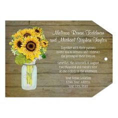 """This ticket shape lends itself to creating a beautiful presentation for your wedding invitations!  """"Rustic Country Mason Jar Flowers Sunflower, Tag Shape""""  #masonjar #sunflowers #sunflowerbouquet #tagstyle #wedding #invitations #wood #barnstyle #fence #boards"""