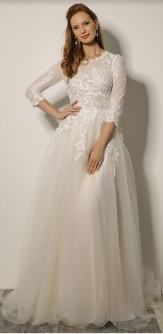 modest wedding dress with three quarter sleeves from alta moda bridal (modest bridal gowns)