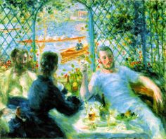 "The Canoeists' Luncheon 1879-80 | Pierre-Auguste Renoir | Oil on canvas, 55.1 x 65.9 cm (21 1/2 x 26""); 
