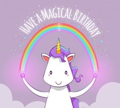 Happy birthday unicorn background with a rainbow Free Vector Purple Unicorn, Cute Unicorn, Rainbow Unicorn, Unicorn Land, Animal Birthday, Unicorn Birthday, Unicorn Party, Unicorn Backgrounds, Unicorn Poster