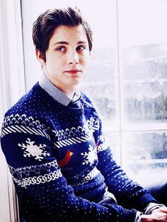 i love boys in christmas sweaters. Oh wait, no, I just love logan lerman in a Christmas sweater.