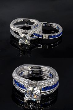 Blue Sapphire Women's Wedding Ring Set  Sterling Silver Ring La Cathedrale Style