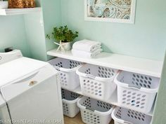 25 Ways to Give Your Small Laundry Room a Vintage Makeover Laundry room decor Small laundry room organization Laundry closet ideas Laundry room storage Stackable washer dryer laundry room Small laundry room makeover A Budget Sink Load Clothes Laundry Basket Organization, Laundry Room Organization, Organization Hacks, Laundry Baskets, Organizing Tips, Basket Storage, Storage Ideas, Laundry Shelves, Organization Station