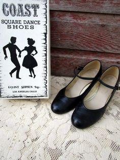 Vintage Coast Red Square Dance Heel Strap Shoe Mary Jane Sz 8M w/Box by Holliezhobbiez on Etsy