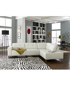Alessia Leather Sectional Living Room Furniture Collection ...